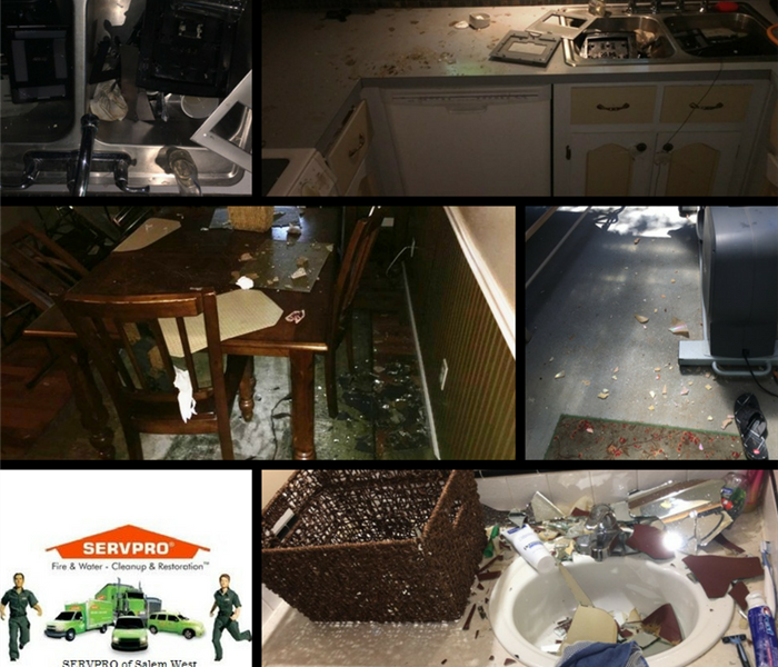 Vandalism is shown in several areas of a home