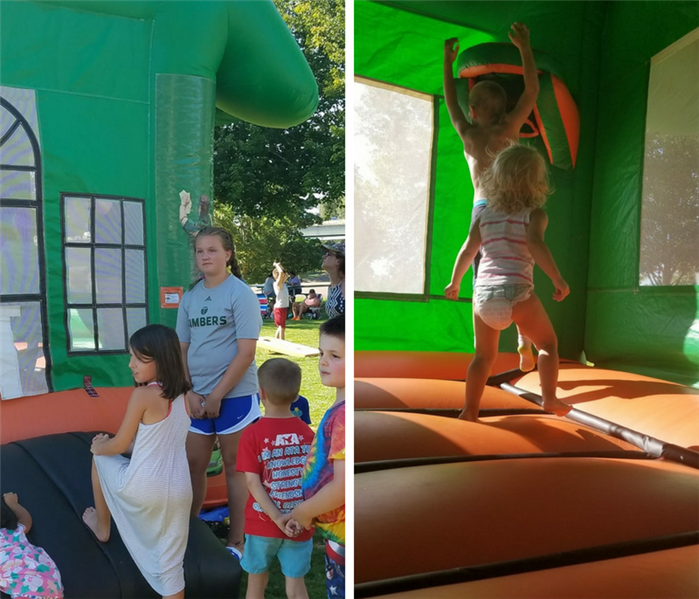 Children of all ages are shown enjoying the bounce house
